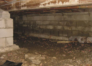 Rotting, decaying crawl space wood damaged over time in Fox River Grove